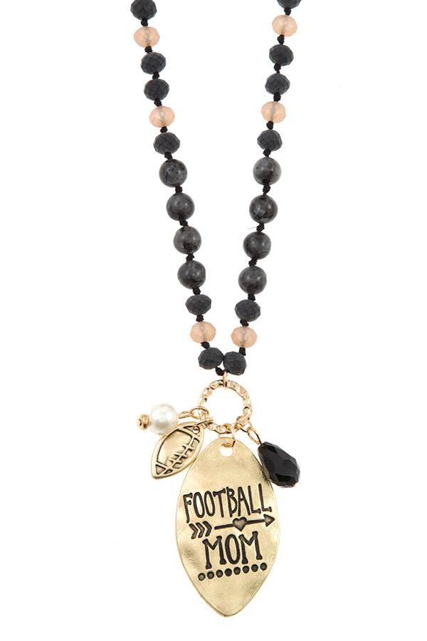 FOOTBALL mom beaded necklace set-id.CC36394