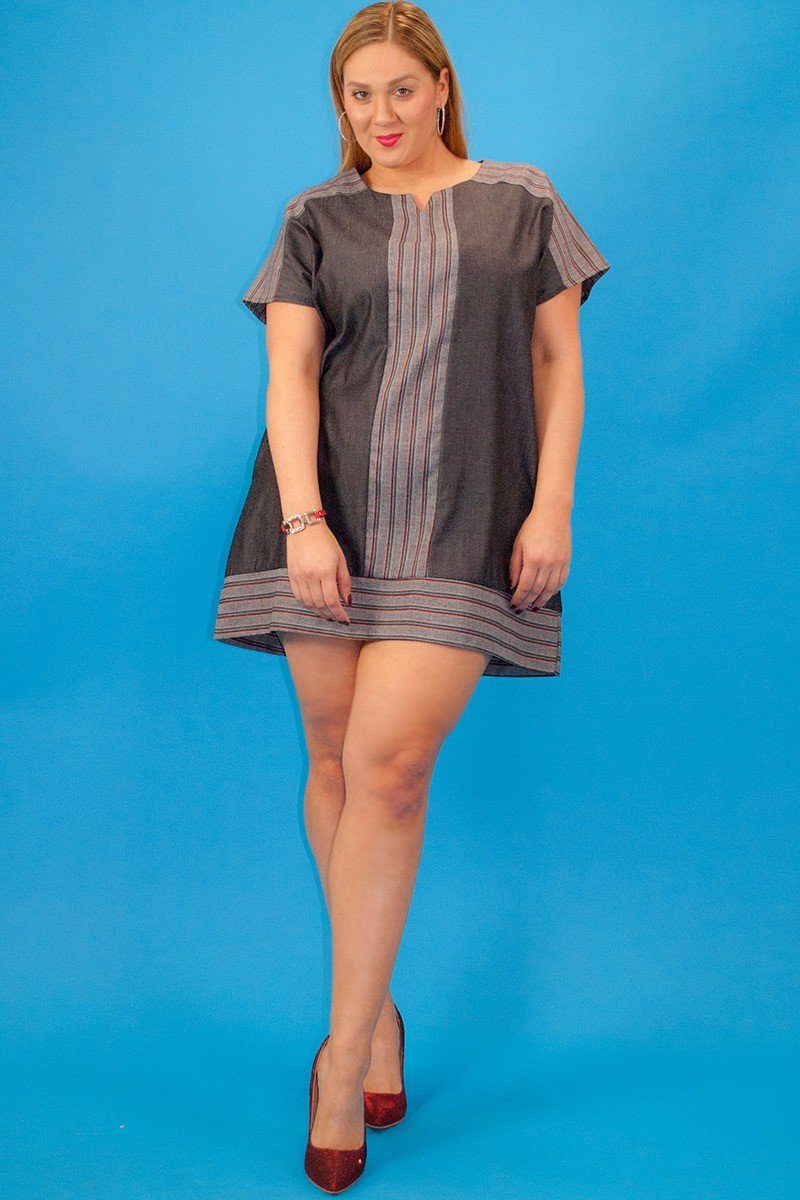 ''Chambray denim, short sleeve, striped contrast neckline and trim, loose fit short DRESS with side p