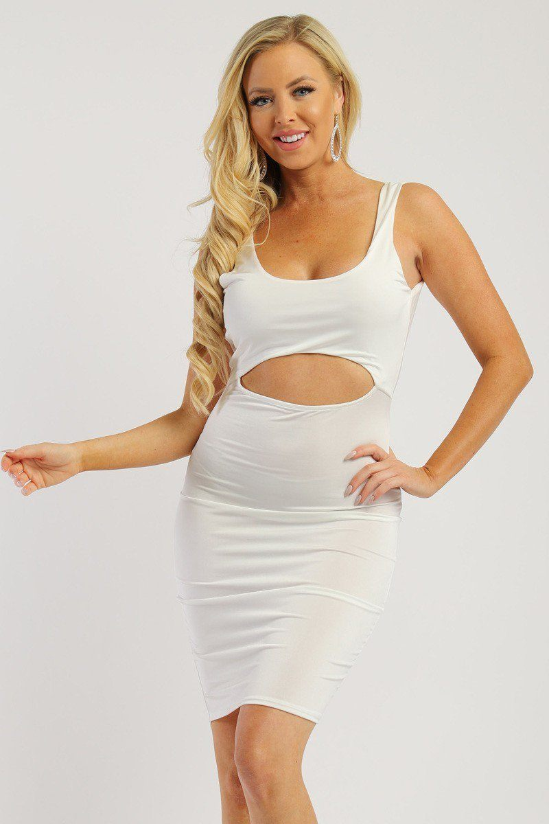 ''Solid sleeveless DRESS with scoop neck, low back and front cutout-id.cc38001''