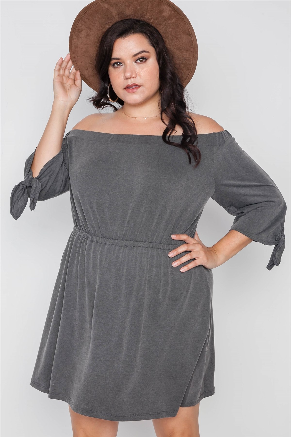 Plus size charcoal off the shoulder basic mini DRESS-id.cc38556