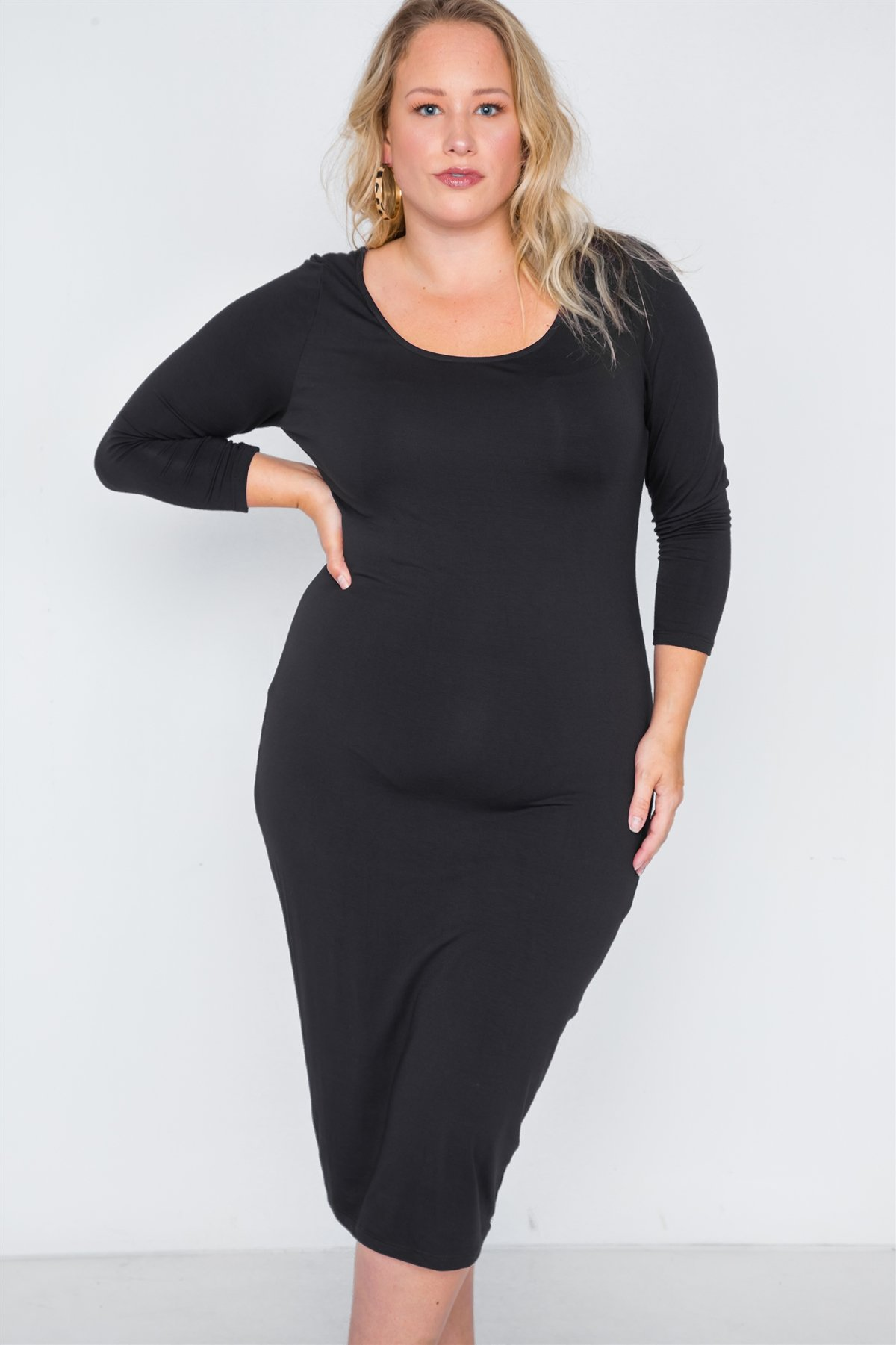 Plus size basic bodycon midi DRESS-id.cc38658