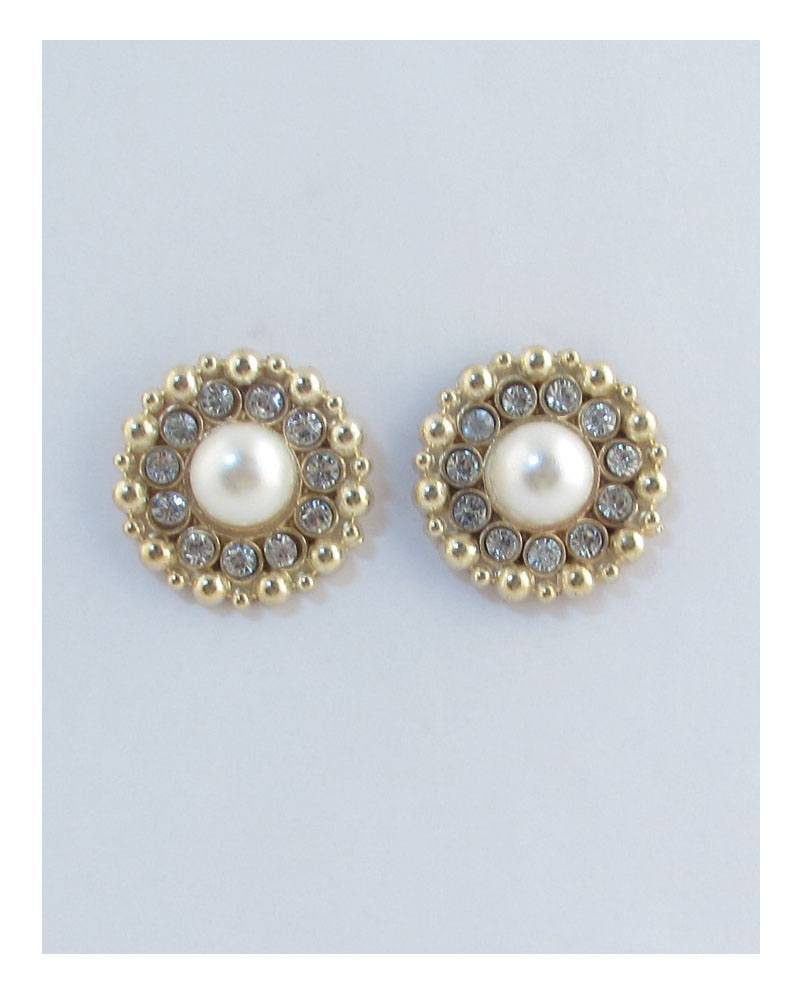 Round pearl earrings surrounded by rhinestones-id.CC27174