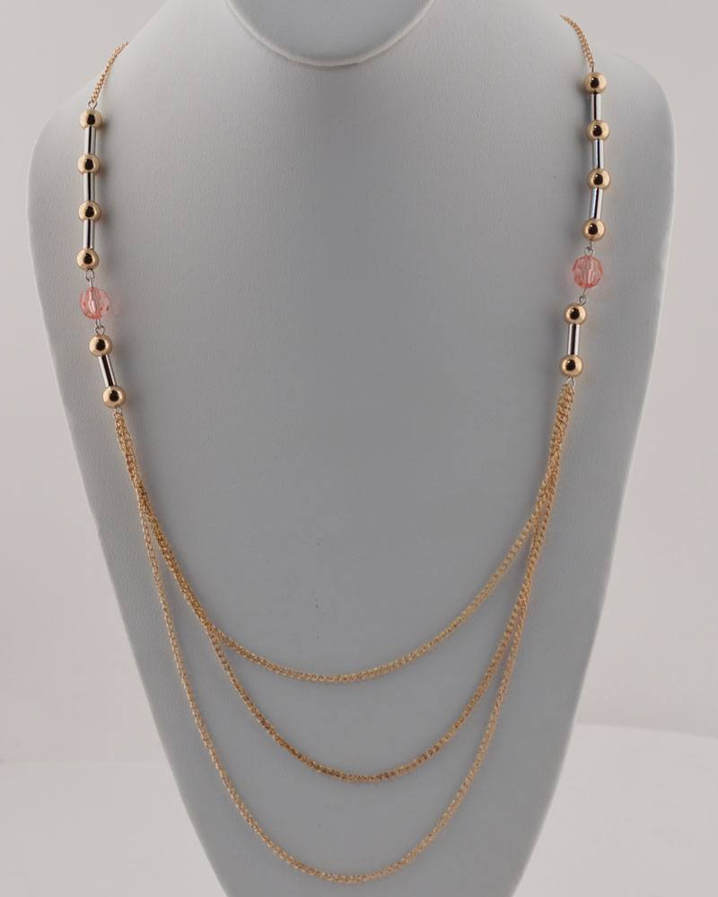 High Low Two Tone Chain Neckalce-id.CC27803