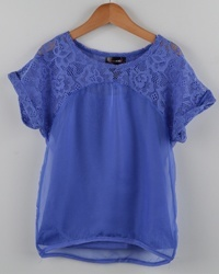 Girls Overlay Chiffon Top w/ Lace Detail-id.27843a