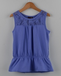 Girls Sleeveless Top w/ Elastic Waist & Lace Detail-id.27844a