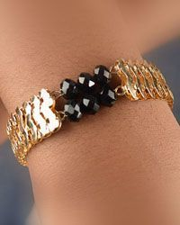 Gold Tone Adjustable Linked Bracelet W/ Faceted Beads-id.CC28999
