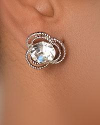 Faceted Crystal Textured Stud Earring-id.CC29023