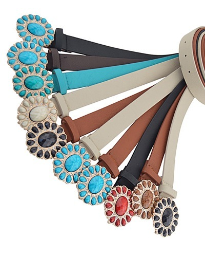 Colored Stone Studded Buckle Belts in Faux Leather-id.CC29096