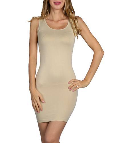 Ladies Solid Color Seamless Long Camisole Dress-id.30400