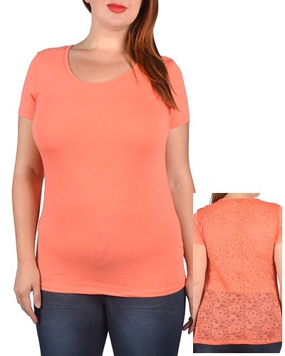 Plus Size Short Sleeve Scoop Neck Fitted Top - id.CC30887a