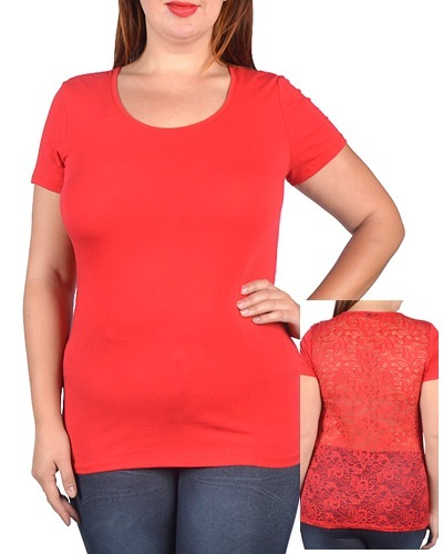 Plus Size Short Sleeve Scoop Neck Fitted Top - id.CC30887e