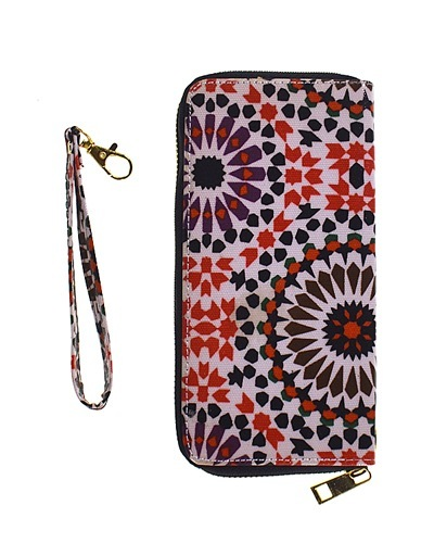 Printed Zip Around Clutch with Removable Wrist Strap-id.CC30937a