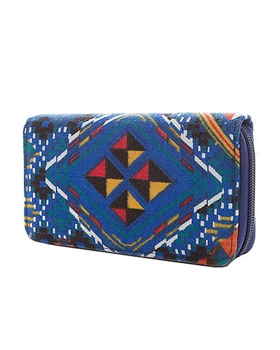Canvas Printed Zip Around Closure Clutch-id.CC30938
