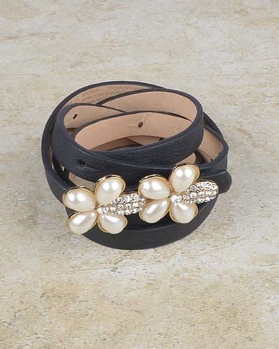 Floral Pattern Buckle Slim Belt with Crystal and Faux Pearl-id.CC30950a