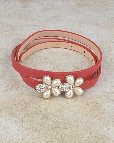 Floral Pattern Buckle Slim Belt with Crystal and Faux Pearl-id.CC30950b