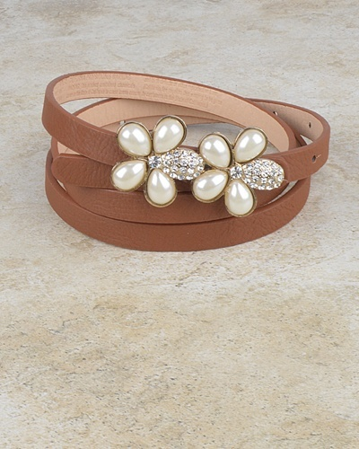 Floral Pattern Buckle Slim Belt with Crystal and Faux Pearl-id.CC30950c