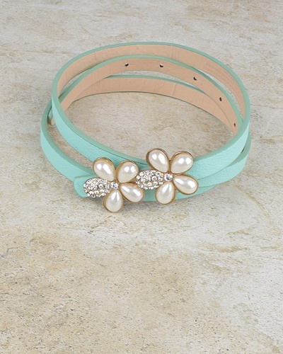 Floral Pattern Buckle Slim Belt with Crystal and Faux Pearl-id.CC30950d