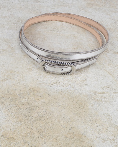 Rounded Rectangle Shaped Buckle Belt with Zip Detailing at the Edges-id.CC30953b