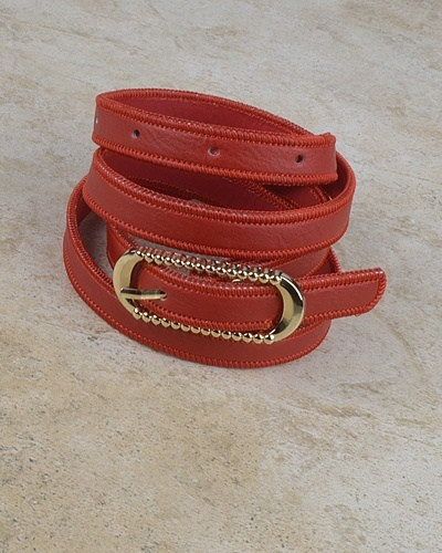 Rounded Rectangle Shaped Buckle Belt with Zip Detailing at the Edges-id.CC30953c