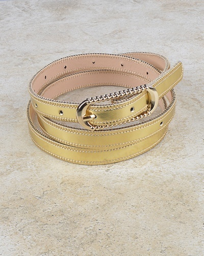 Rounded Rectangle Shaped Buckle Belt with Zip Detailing at the Edges-id.CC30953e