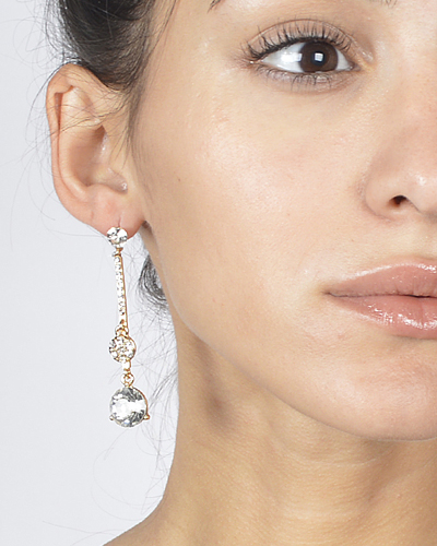 Long Drop Earrings with Studded Crystals and Stones-id.CC30978