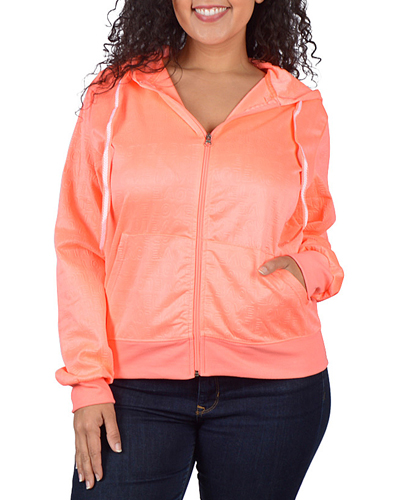 Plus Size Full Sleeve Hood Top - id.CC30981