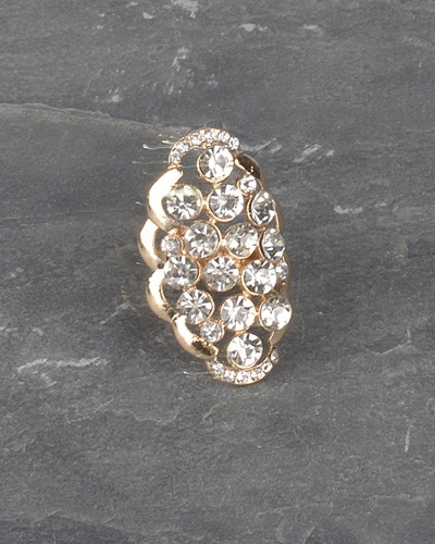 Adjustable Crystal Studded Oval Shaped Ring-id.CC30991