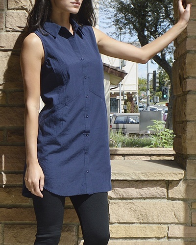 Sleeveless Collared Button Down Tunic - id.CC30995