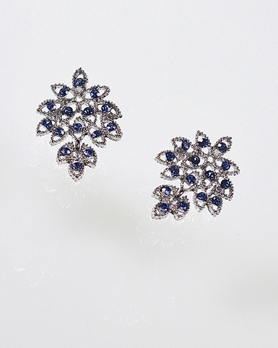 Crystal Studded Earrings with Leaf Design-id.CC31080