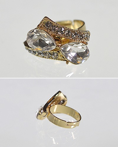 Crystal and Rhinestone Studded Adjustable Metallic Ring-id.CC31214