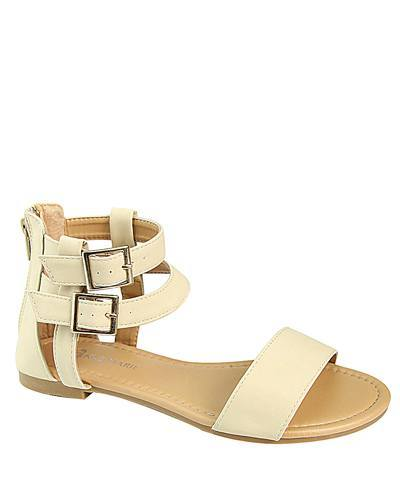 Two Ankle Strap Flat Sandals with Buckle-id.CC31229