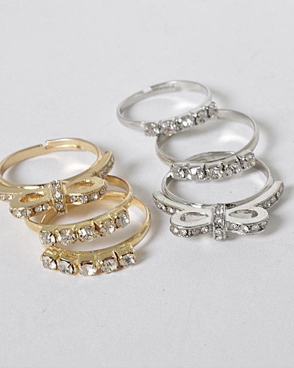 Set of 3 Crystal Studded Rings with Butterfly Accent-id.CC31265