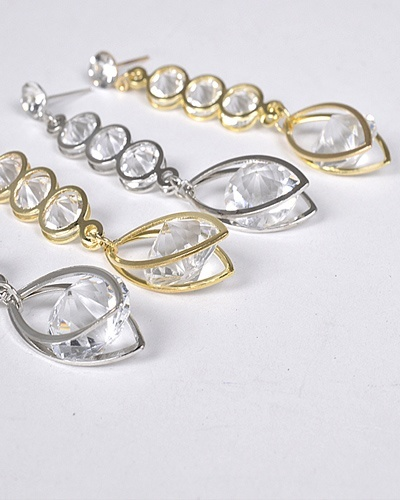Crystal Studded Long Drop Earrings-id.CC31285