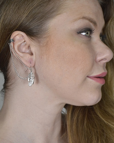 Multi-Link Chain Ear Cuffs with Metallic Leaf Pattern-id.CC31288