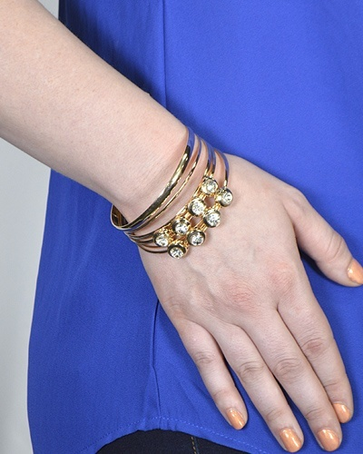 Combination Plain and Crystal Studded Metallic Bracelets-id.CC31289