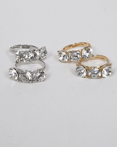Set of Two Small Crystal Studded Ring-id.CC31316