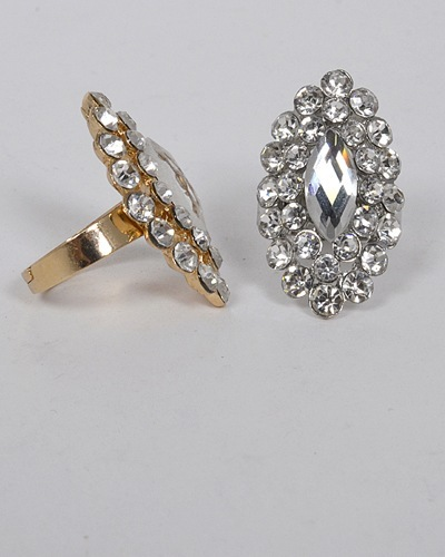 Small and Large Crystal Studded Adjustable Ring-id.CC31317
