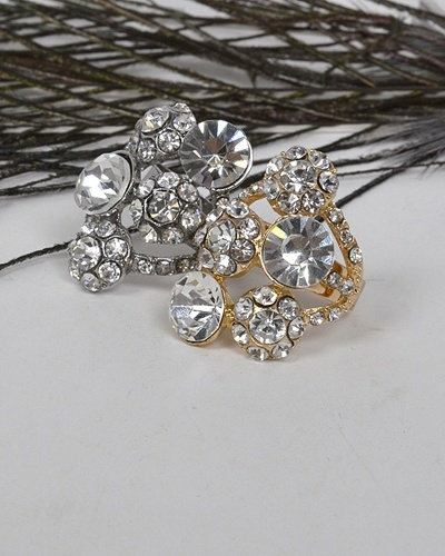 Adjustable Cluster Ring with Studded Crystals-id.CC31325