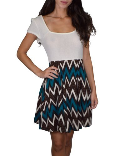 Mega Sleeved Square Neck Short Dress with Chevron Printed Skirt-id.31340a