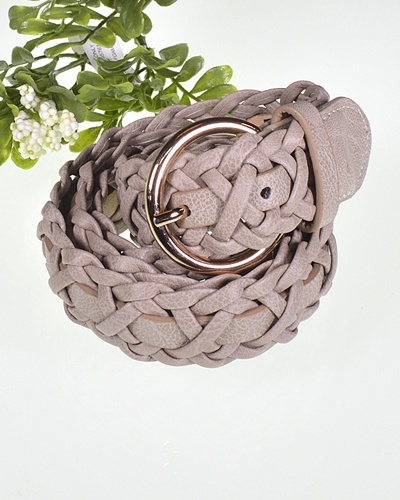 Braided Faux Leather Belt with Round Pin Buckle-id.CC31396