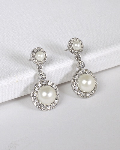 Faux Pearl Round Crystal Drop Earrings-id.CC31398