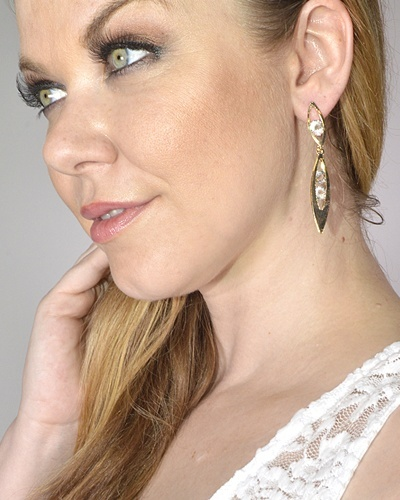 Double Elliptical Crystal Drop Earrings-id.CC31407