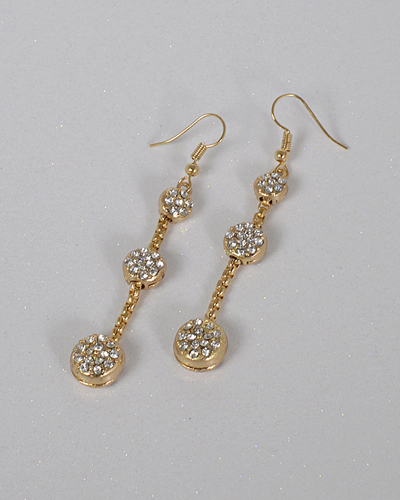 Three Tier Crystal Accent Drop Earrings-id.CC31433