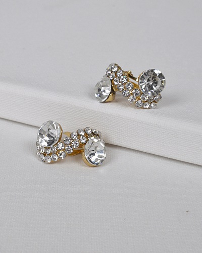 S Shaped Stone and Crystal Studded Earrings-id.31435