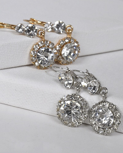 Crystal and Stone Studded Drop Earrings with Lever Back-id.31436