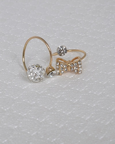 Set of Two Rhinestone and Crystal Studded Rings-id.31459