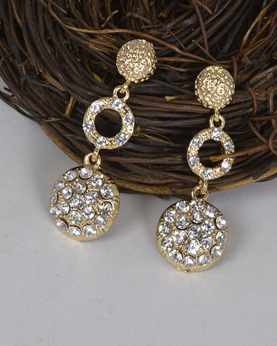 Metal Embellished Stone Studded Drop Earrings-id.31467