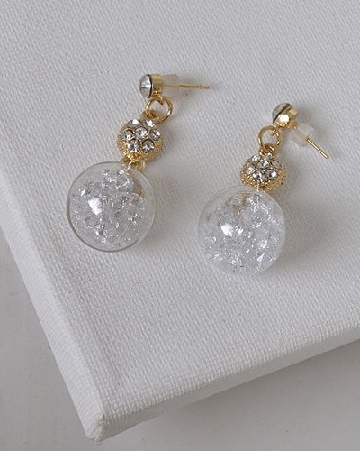 Crystal and Stone Embellished Drop Earrings with Post Back Closure-id.31480