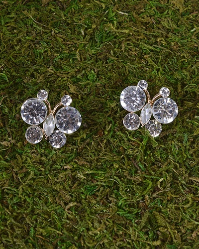 Crystal Studded Butterfly Earrings-id.31495