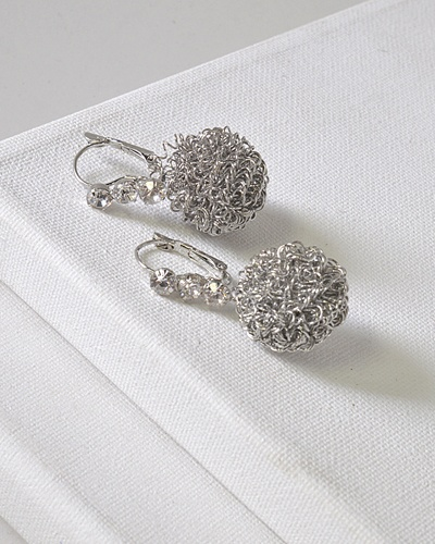 Crystal Studded Metallic Ball Drop Earrings-id.31572